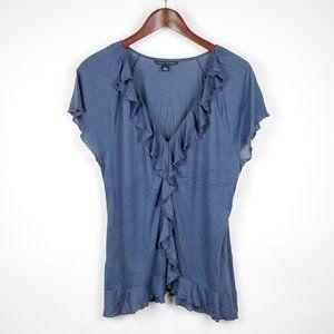 BANANA REPUBLIC  Blue short sleeve ruffled blouse